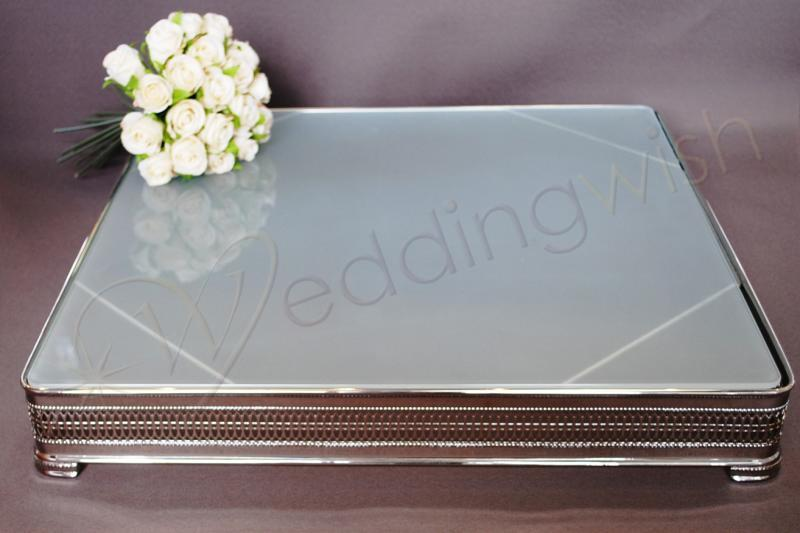 wedding square frosted glass 20 inch cake stand hire wedding wish