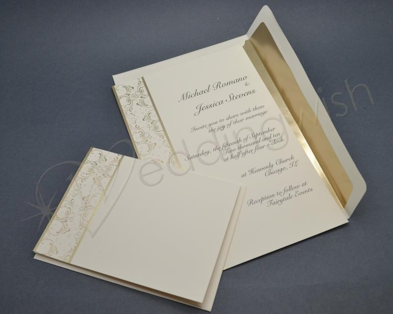 Wedding Wilton Royal Lining Gold Wedding Invitation Kits x 25 pack
