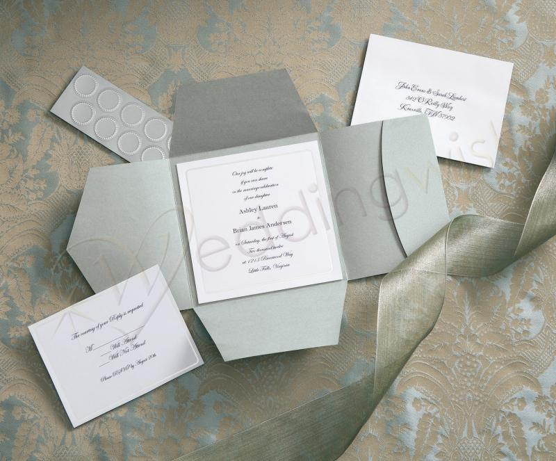 Wedding Wilton Traditional Premium Pocket Silver Invitation Kits x