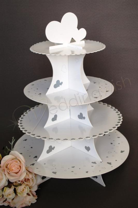 Wedding 4 Tier Silver And White Gloss Cardboard Cup Cake Stand Image 1