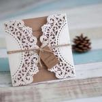 Rustic Lace Invitations  x 100 Laser Cut including printing image