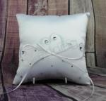 Ring Cushion - White Ring Pillow Embroidered Heart with Bling image