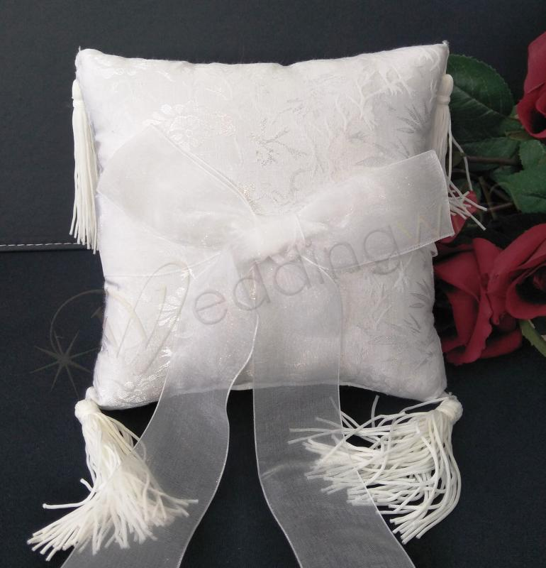 Wedding Ring Cushion White Ring Pillow Embossed With Tassle