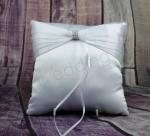 Ring Cushion - White Ring Pillow with Pleated Bow and Bling image