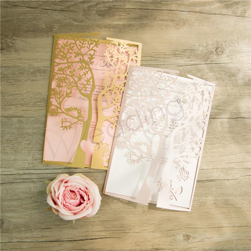 Wedding Love Tree Design Laser Cut Wedding Invitation - Wedding Wish