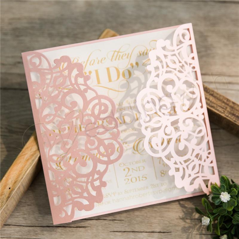 Wedding Elegant Floral Laser Cut Wedding Invitation - Wedding Wish