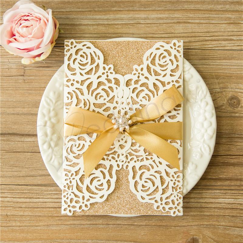 Wedding Invitation Cards With Pictures: Wedding Rose Design Laser Cut Wedding Invitation Cards