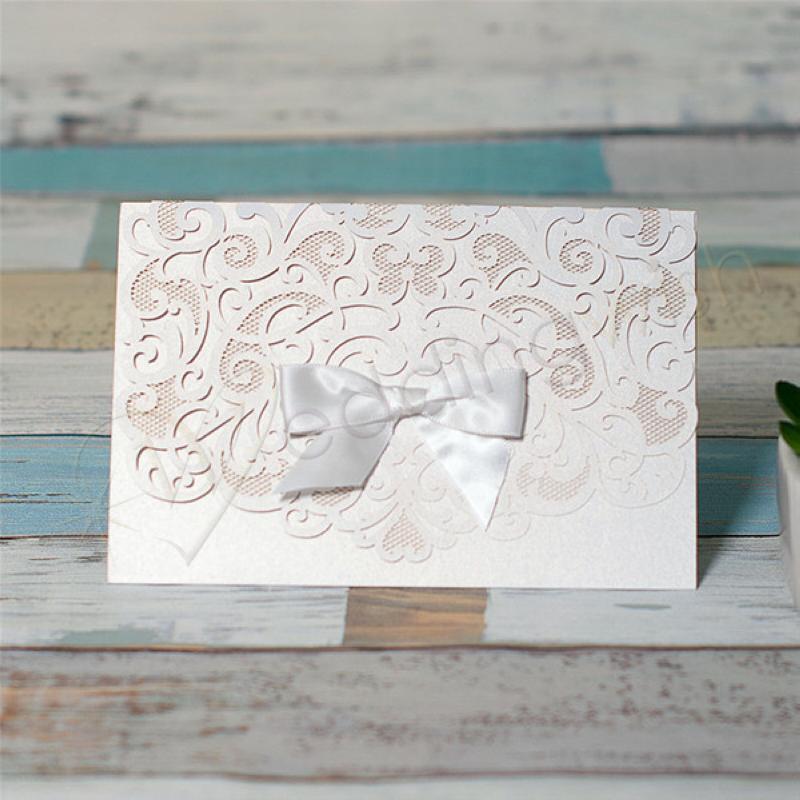 Wedding Elegant Pocket Fold Laser Cut Wedding Invitation Card With ...