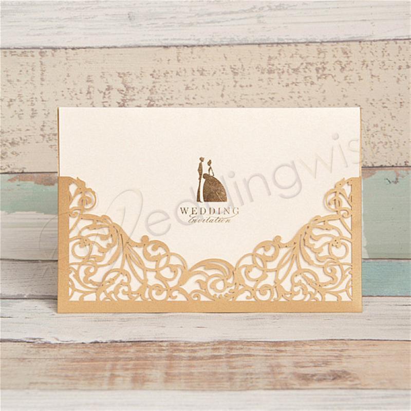 wedding modern elegant metallic brown unique wedding invitation
