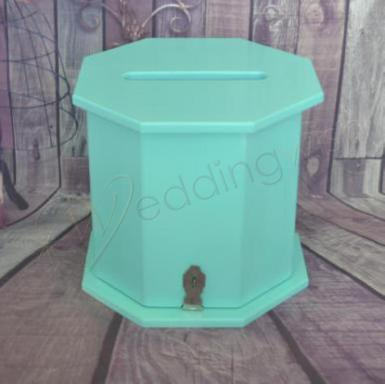 Wedding Octagon Aqua Timber Card Box- Wishing Well - Wedding Wish Image 1