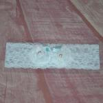 White Floral Lace Garter with Blue Ribbon image