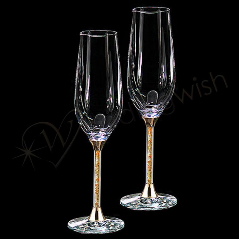 Wedding Gold Leaf Stem Champagne Flutes Wedding Toasting