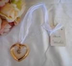 Gold Heart with Hanging Jewel  image