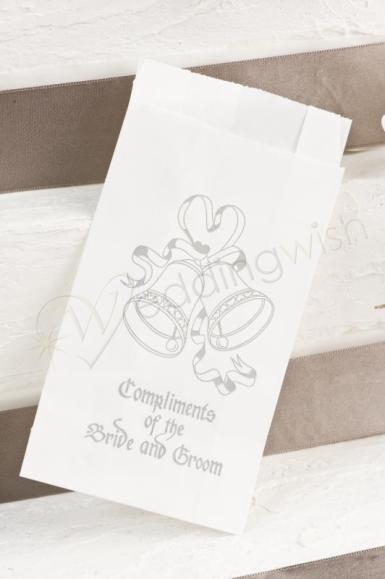 wedding cake bags gold or silver bells x25 wedding wish. Black Bedroom Furniture Sets. Home Design Ideas