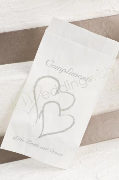 wedding double hearts cake bags gold or silver 25 bags wedding wish. Black Bedroom Furniture Sets. Home Design Ideas