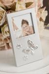 Brushed silver butterfly photo frame image