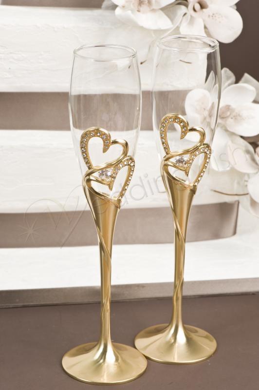 Wedding Crystal and Gold Toasting Glasses - Wedding Wish
