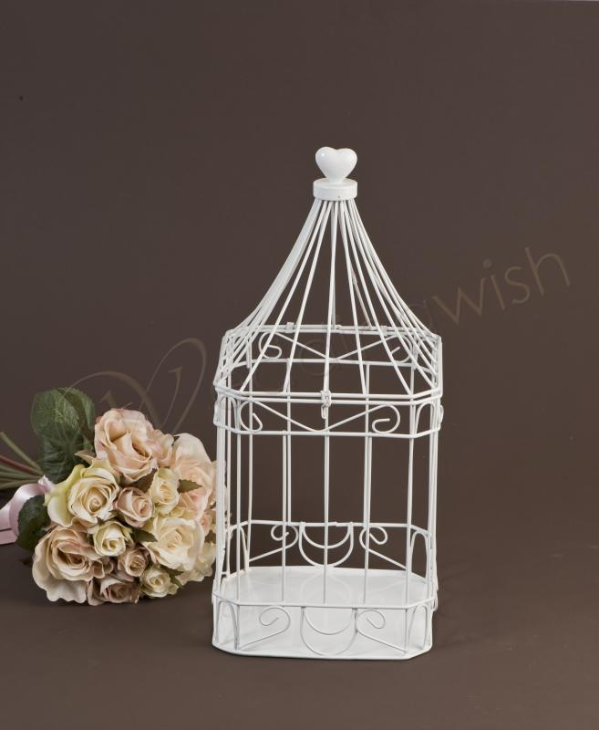 Wedding Square Heart Top Bird Cage Card Keeper