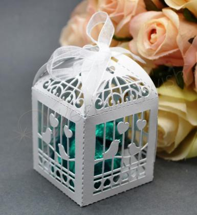 Wedding Birdcage Laser Cut Favour Boxes White x 20 - Wedding Wish Image 1