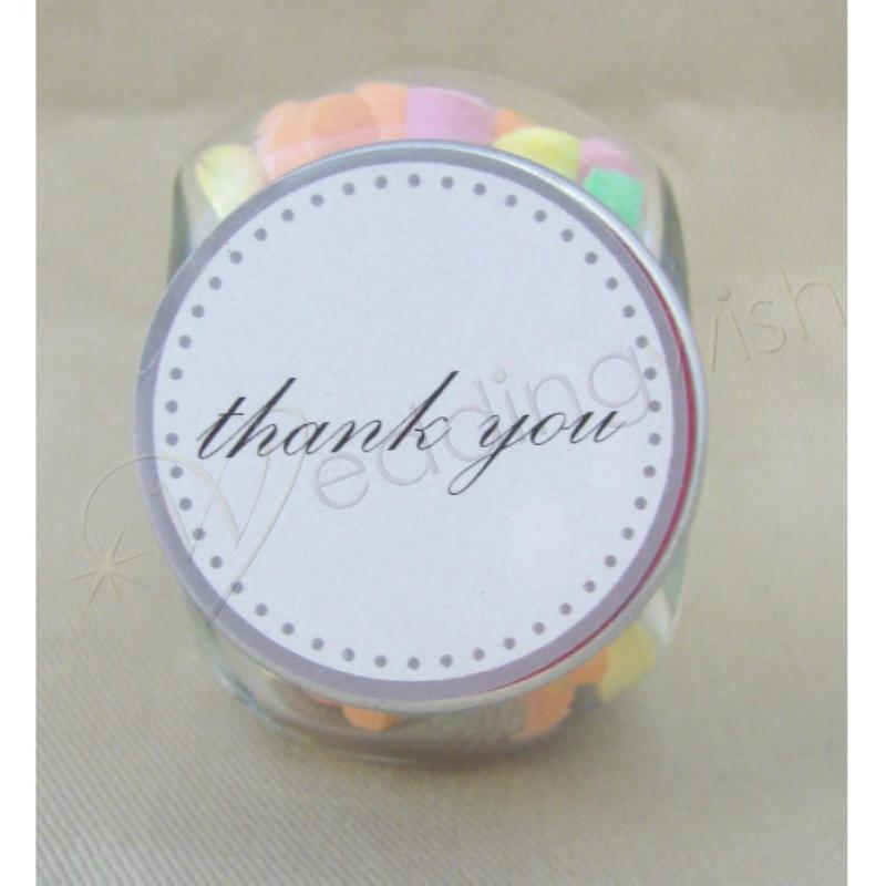 Wedding Glass Candy Jar Favour with Thank You Sticker