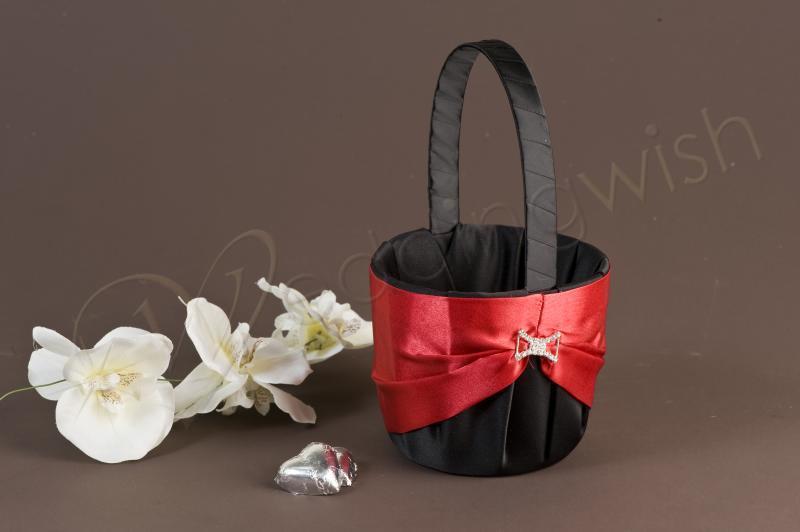 Flower Girl Baskets Black : Wedding black and red satin flower girl basket clearance