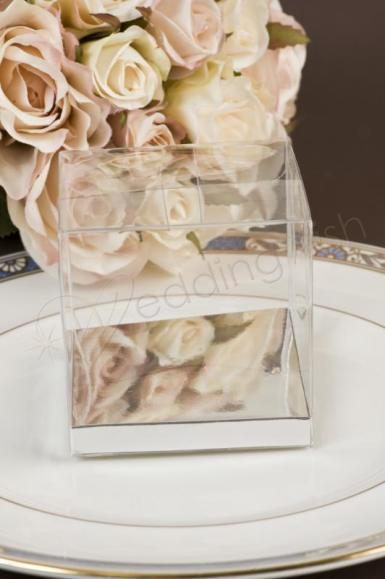 Wedding Clear PVC Box with Silver Base 8cm x 8cm - Wedding Wish Image 1