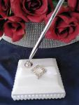 Pure Elegance in Wedding White Satin Wrapped Pen Set image