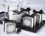 Black and White Houndstooth Boxes with Ribbon and Sticker x 10 image