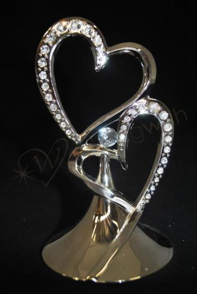 wedding double hearts metal cake topper with diamantes