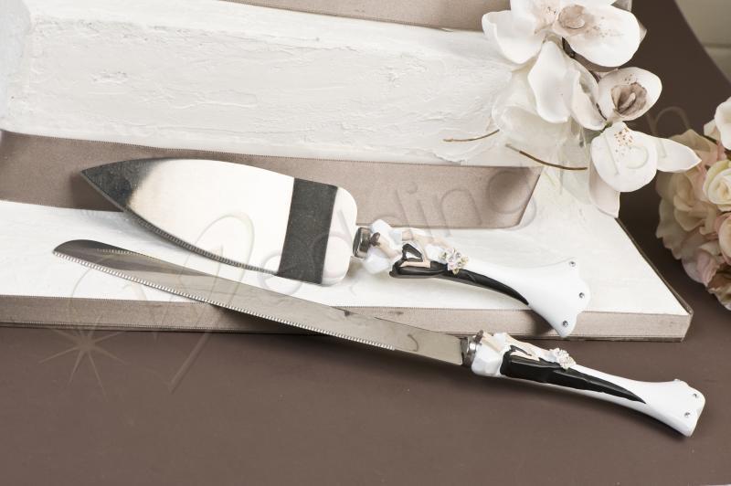 Wedding White Bride And Groom Cake Knife And Server Set Wedding Wish