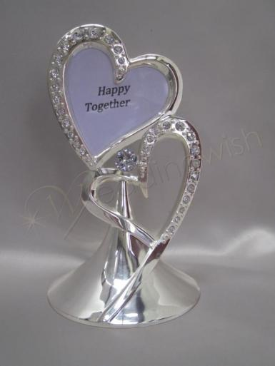 wedding double hearts metal cake topper with photo insert