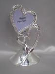 Double Hearts Metal Cake Topper with Photo Insert image