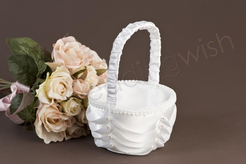Flower Baskets Wedding : Wedding pearl loops and diamante flower girl basket