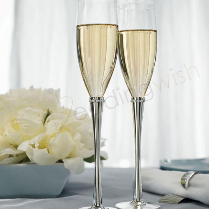 wedding ring of crystals flutes