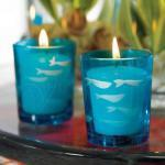 Carved Glass Fish Tea Light Holders x 8 image