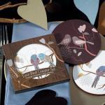 Love Birds Cork Back Coaster Set in Gift Packaging image
