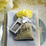 Mini Linen Drawstring Pouch with Vintage Infused Love Print x12 image