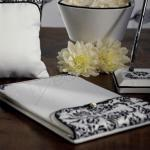Love Bird Damask in Classic Black and White Guest Book image