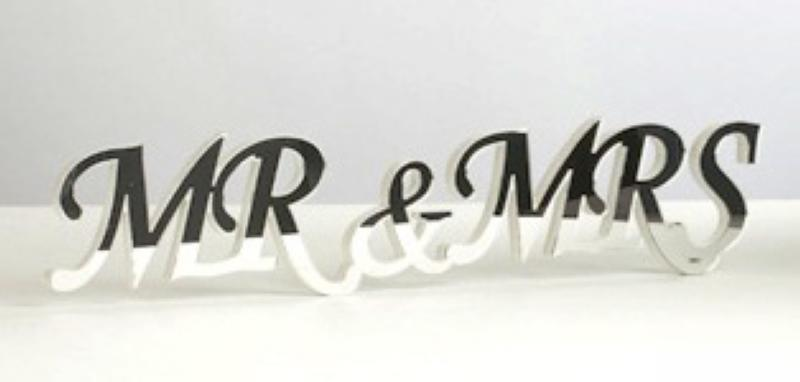 Wedding Mr And Mrs Wooden Sign With Mirror Front