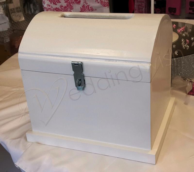wedding small white wooden treasure chest hire wedding wish