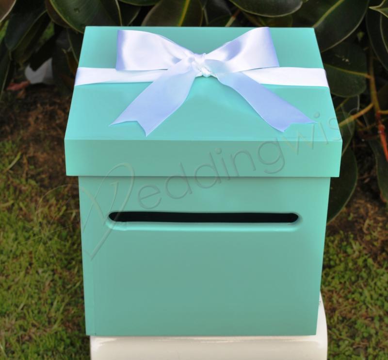 Wedding Tiffany Inspired Wishing Well Box Wedding Wish