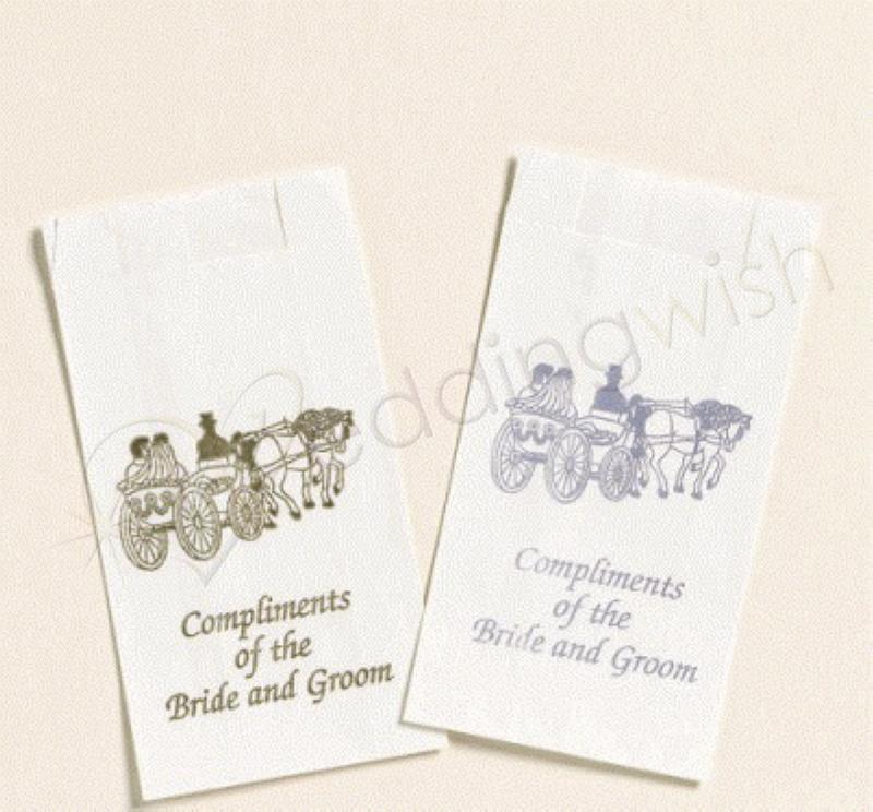 wedding silver or gold carriage cake bags x 25 wedding wish