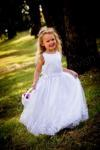 Long Flower Girl Dress with Beaded Lace Trim - Ivory or White image
