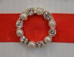 Round Diamante and Pearl Buckle Large x 10 image