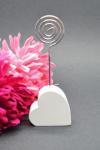 Resin Heart Placecard Holder - White or Silver image