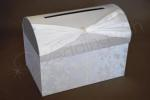 Clearance - Silver and White Satin Treasure Chest with Floral Detail image