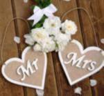Rustic Burlap Mr and Mrs Heart Banner image