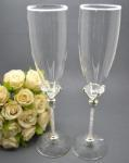Diamond Base Crystal Stem Champagne Toasting Glasses image