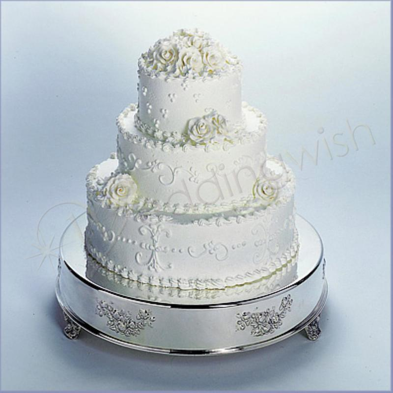 Wedding Antique Look 18 inch Round Silver Cake Stand Hire