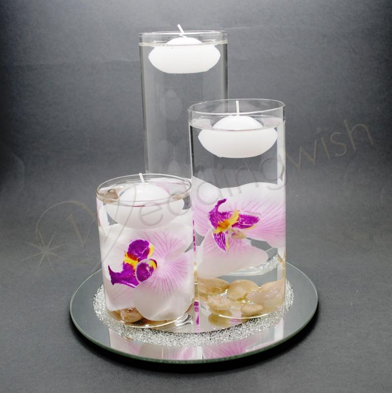 Wedding Glass Three Floating Candle Table Decoration 8 piece Set ...